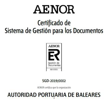 Autoridad Portuaria de Baleares - Aenor ISO 30301