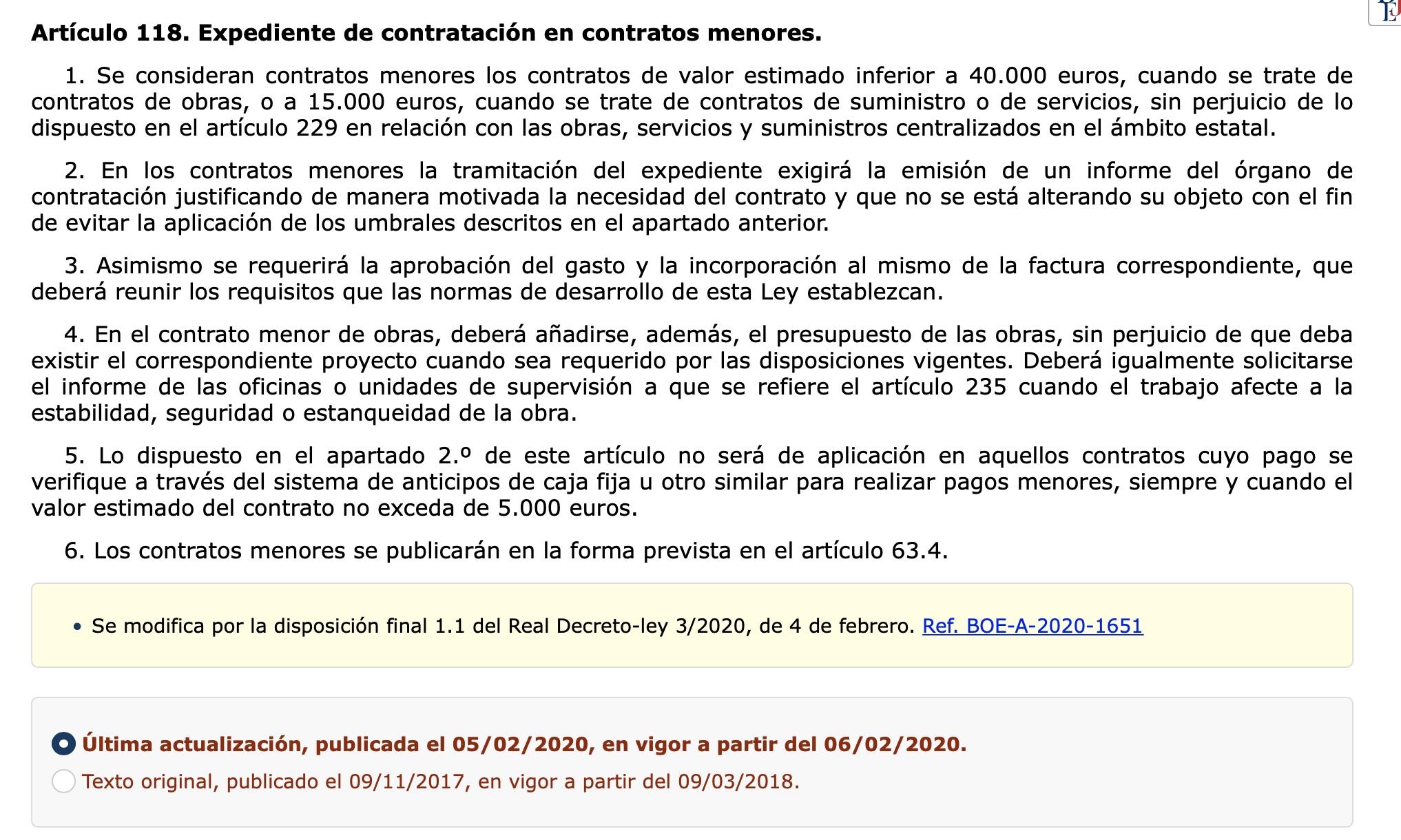 Texto original Contratos Menores Ley de Contratos