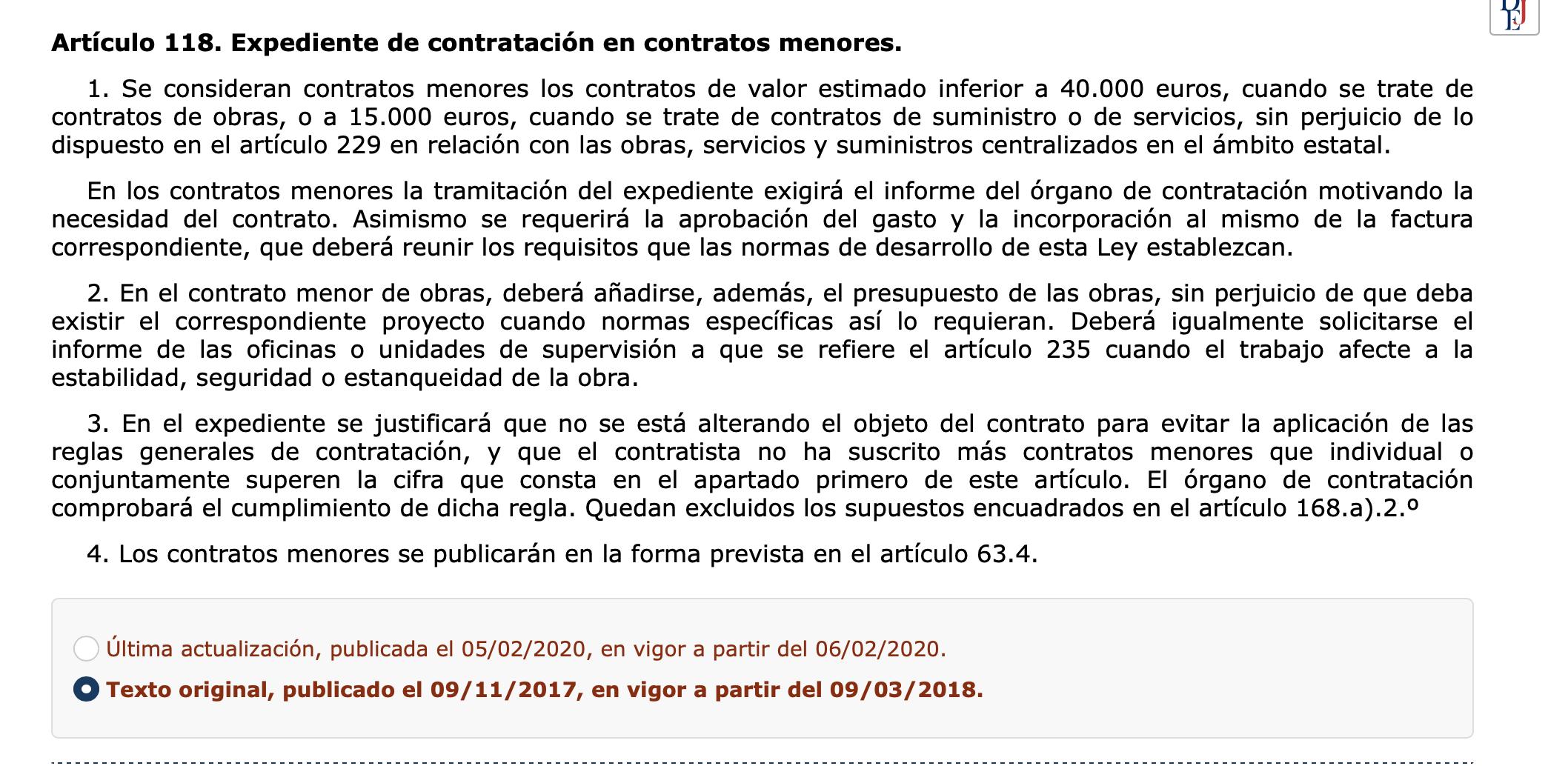 Actualización Contratos menores Real Decreto